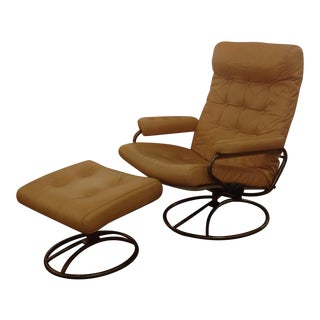1960s Vintage Ekornes Leather Lounge Chair & Ottoman