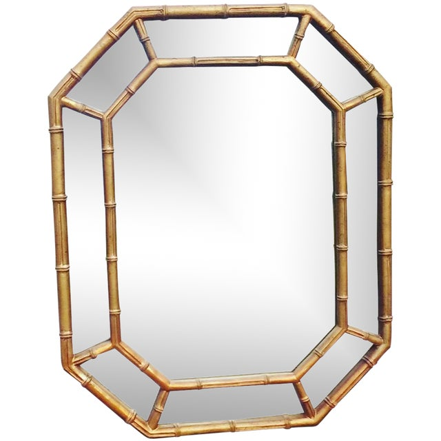 Hollywood Regency Octagonal Faux Bamboo Mirror - Image 1 of 4