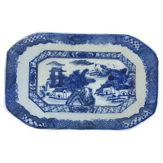 Chinese Blue & White Hand-Painted Stoneware Platter