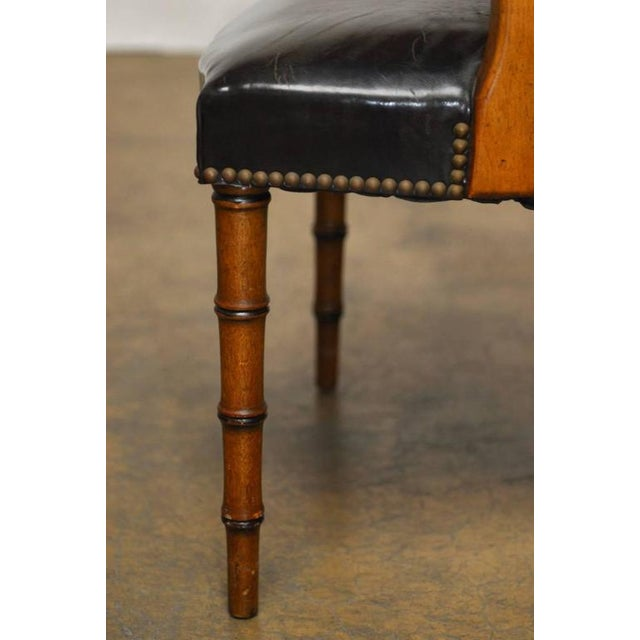 Barnard & Simonds Leather Library Chairs - Set of 4 - Image 6 of 10