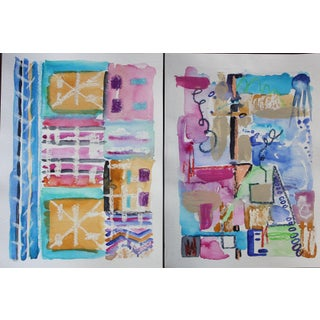 Bright Patterns Mixed Media Watercolor Paintings- Set of 2