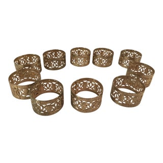 Vintage Brass Pierced Napkin Rings - Set of 10