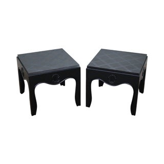 Mid-Century Ebonized Black Slate Top Side Tables - A Pair