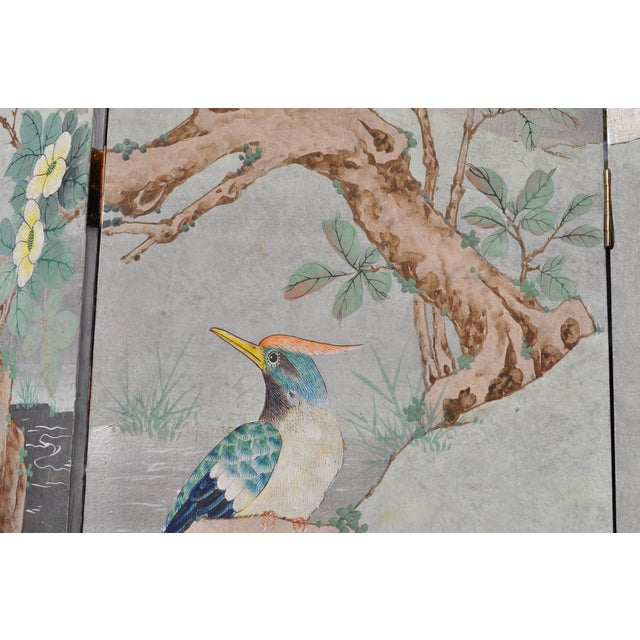 Vintage Chinoiserie Hand Painted Folding Screen - Image 4 of 7