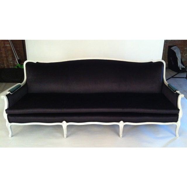 Antique louis canap black velvet sofa chairish for Canape leather sofa
