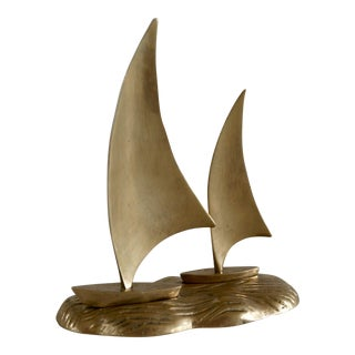 Nautical Brass Sailboat Figurine
