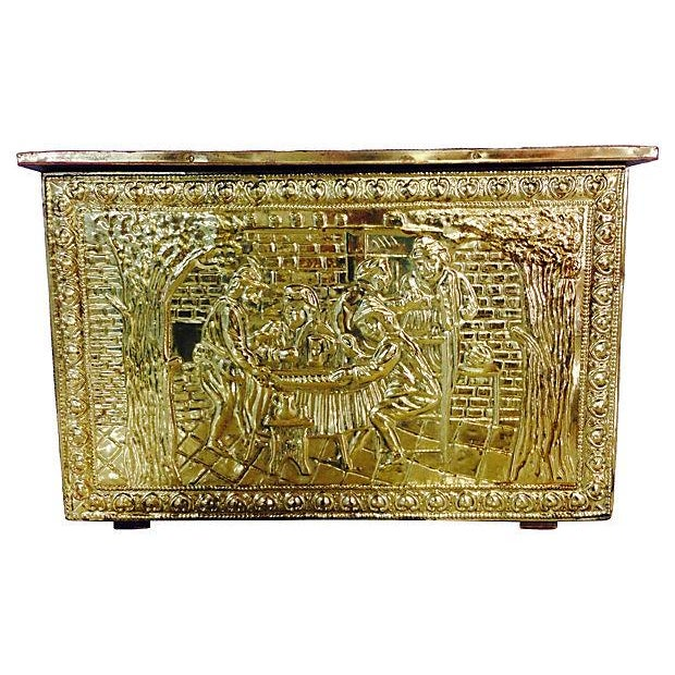 Vintage English Gilded Brass Fireplace Wood Box - Image 1 of 6