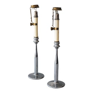 Sarreid LTD Industrial Chromed Candle Holders - A Pair