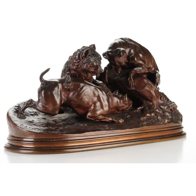 """Pierre-Jules Mene '3 dogs Ferreting"""" Original Bronze Sculpture c.1890s - Image 2 of 11"""