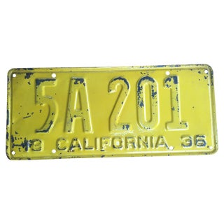 1936 California License Plate