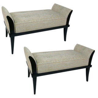 Pair of Ebonized Flared Armed Benches