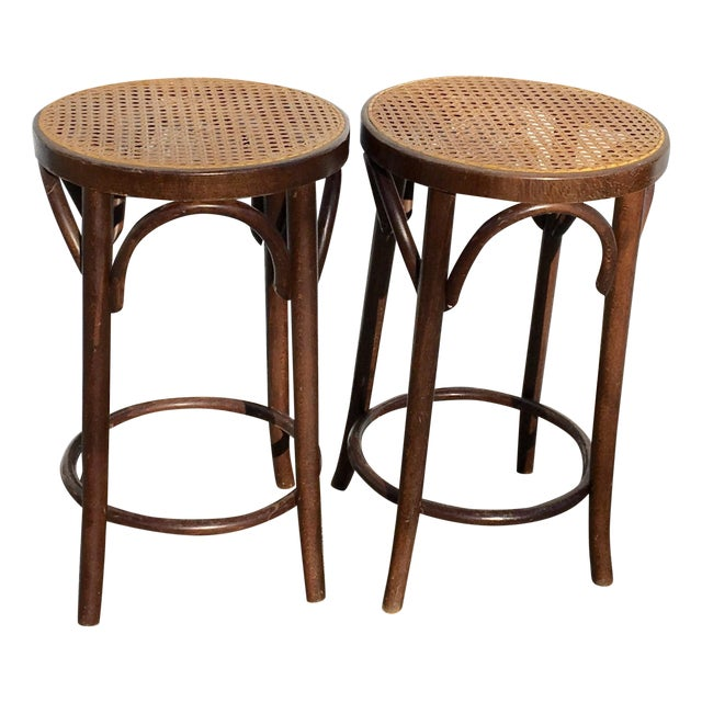 Image of Bentwood and Cane Stools - A Pair