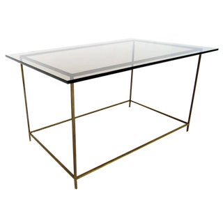 Thin Solid Brass Base Mid-Century Modern Glass Top Table