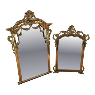 Hollywood Regency Brass Mirrors - A Pair
