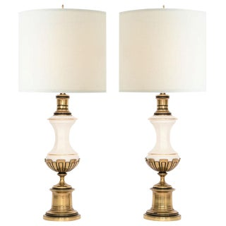 Westwood Brass &Porcelain Lamps - A Pair
