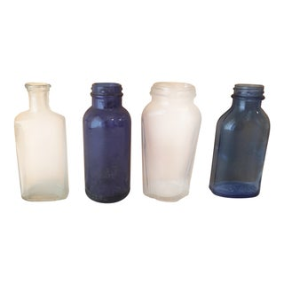 Vintage Blue & Clear Apothecary Bottles - Set of 4