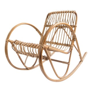Franco Albini Vintage Child's Rattan Rocking Chair