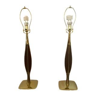 Laurel Lamp Co. Brass & Walnut Lamps - Pair