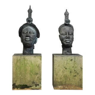 Indonesian Male & Female Concrete Garden Sculptures - A Pair