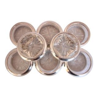 Vintage Sterling Silver & Crystal Beverage Coasters - Set of 8
