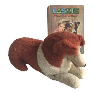 Vintage Lassie Stuffed Animal & Book - A Pair