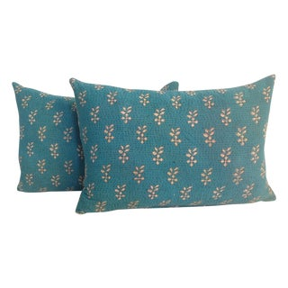 Vintage Teal Kantha Quilt Pillows - A Pair