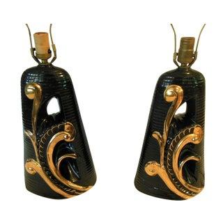 Hollywood Regency Black 24 K Gold Lamps - Pair