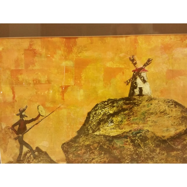 Mid-Century Don Quixote & Windmill Oil Painting - Image 3 of 7