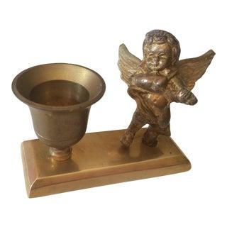 Christmas Brass Cherub Candle Holder