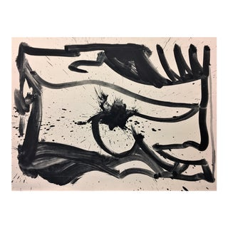 "Bold Black & White ""Abstract Landscape"" Monoprint"