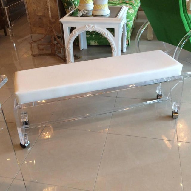 Lucite White Leather Waterfall End of Bed Bench Seat - Image 8 of 10