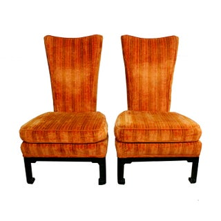 Orange Velvet Regency Lounge Chairs - A Pair