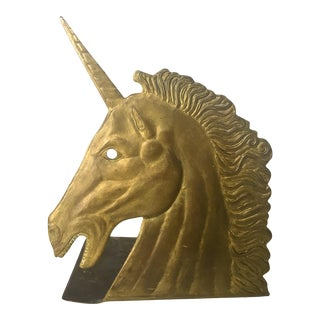 Vintage Brass Unicorn Bookend