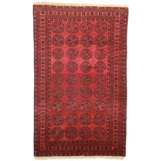 Hand Knotted Wool Afghan Turkman Rug - 4′8″ × 7′7″