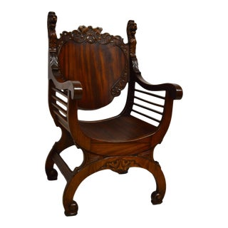 Antique 19th Century Carved Mahogany Arm Chair