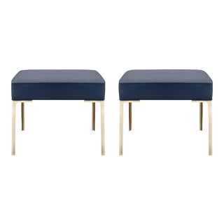 Astor Brass Ottomans in Midnight Ultrasuede by Montage, Pair