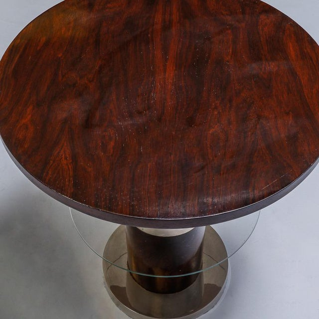 French Art Deco Macassar and Glass Table with Chrome Base - Image 7 of 7