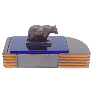 Vintage Art Deco Bronze & Copper Bear Box
