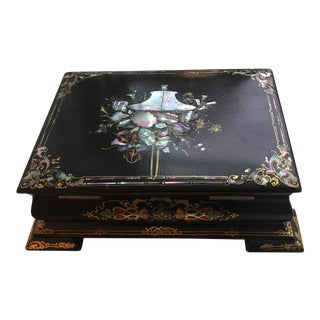 Black Lacquer Chinese Tea Caddy