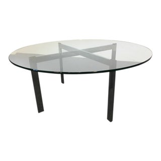 Contemporary Chrome & Glass Top Coffee Table