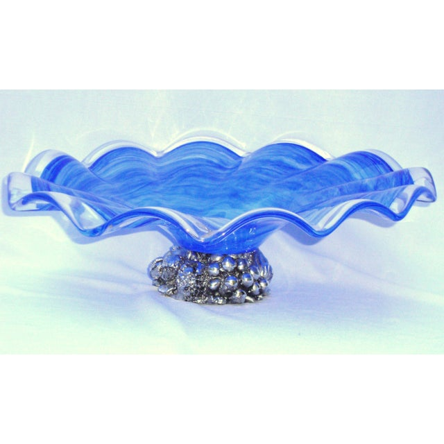 Deco Gothic Murano Blue Silver Wavy Glass Bowl - Image 2 of 10