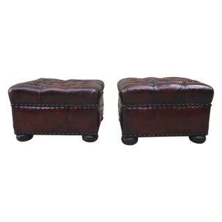English Leather Tufted Ottomans - A Pair