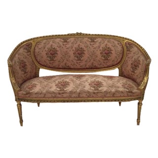 French Louis XVI Style Carved and Gilded Antique Settee