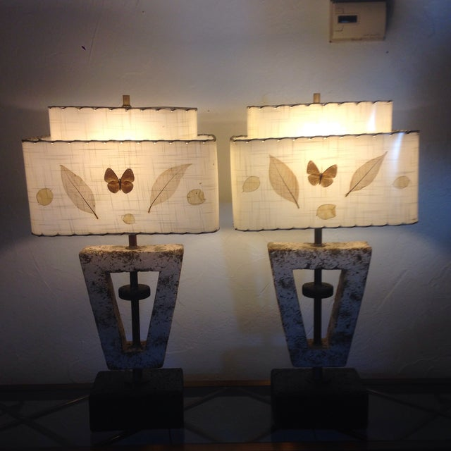 Deco Butterfly Cork Lamps - A Pair - Image 10 of 10