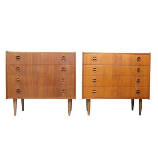 Danish 4 Drawer Nightstand/Side Dresser - Set of 2