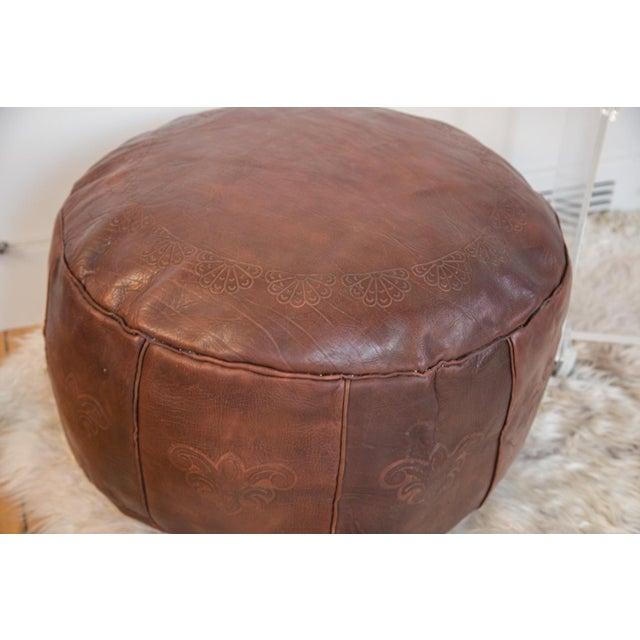 Antique Dark Whiskeyleather Moroccan Pouf Ottoman Chairish