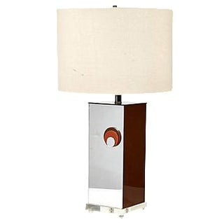 1970s Mirrored Style Square Table Lamp