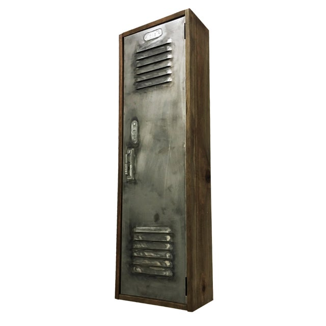 Wood brushed metal locker cabinet chairish for Brushed aluminum kitchen cabinets