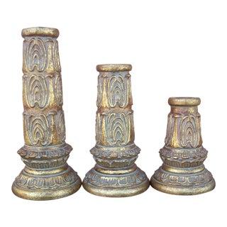 Vintage Baroque Candlesticks - Set of 3