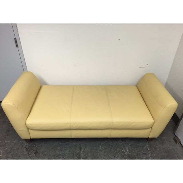 Contemporary Yellow Leather Chaise with Pillows - Image 11 of 11